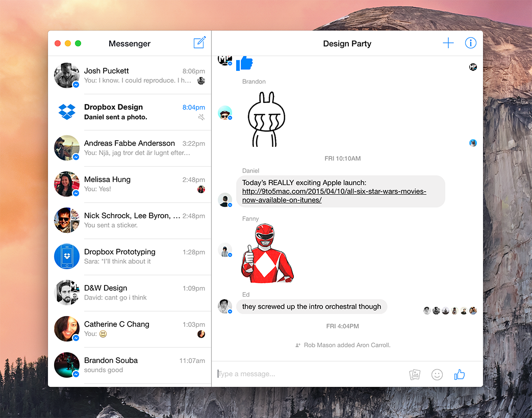 messenger for mac screenshot